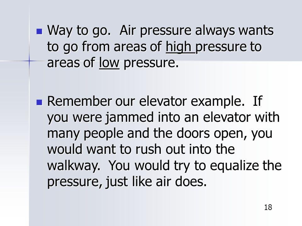 Way to go. Air pressure always wants to go from areas of high pressure to areas of low pressure.