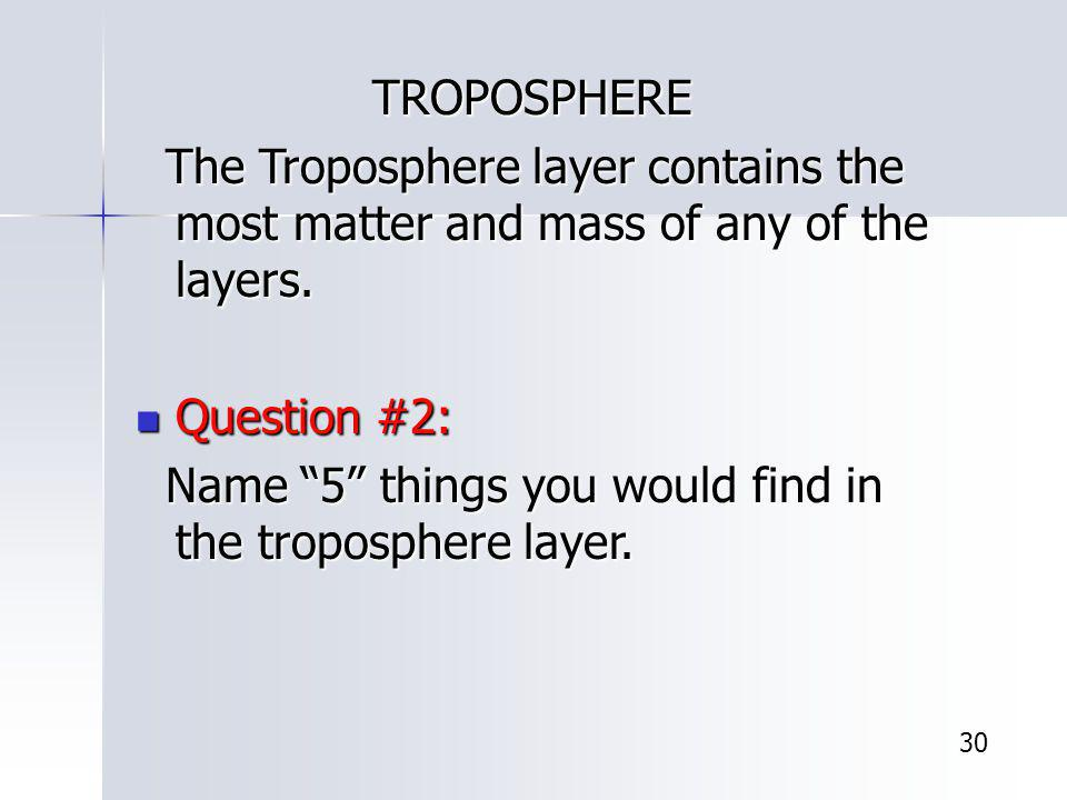 Name 5 things you would find in the troposphere layer.