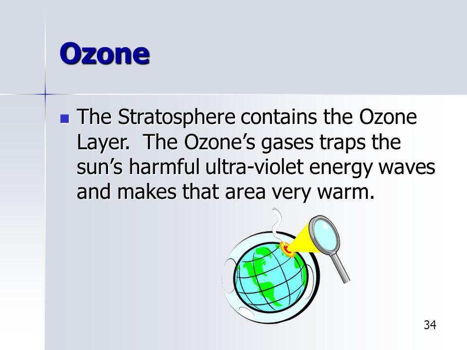 Ozone The Stratosphere contains the Ozone Layer. The Ozone's gases traps the sun's harmful ultra-violet energy waves and makes that area very warm.