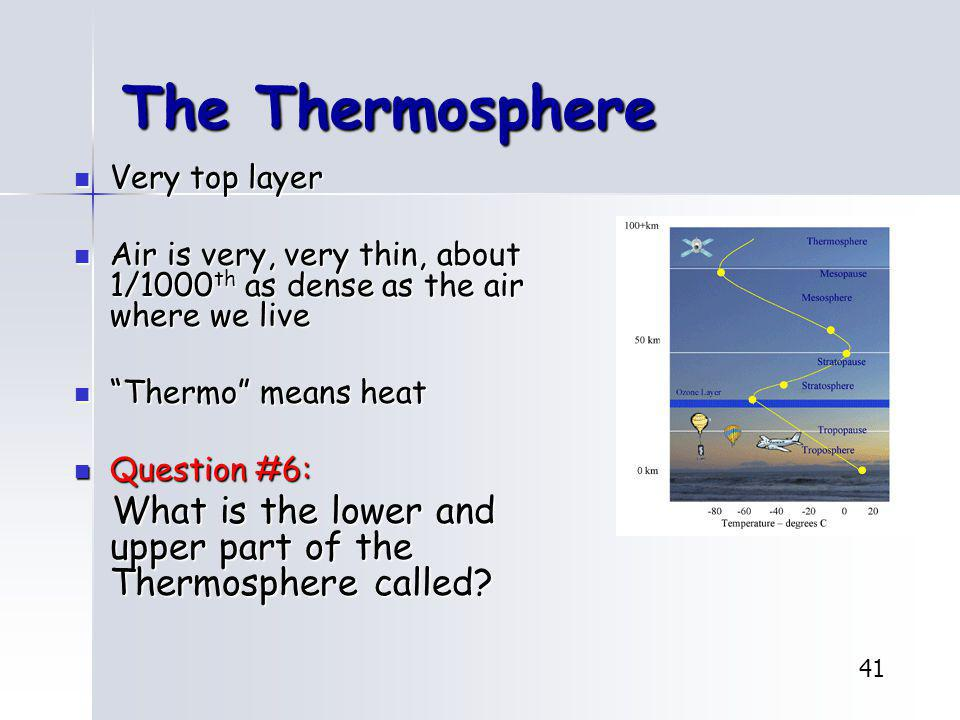 The Thermosphere Very top layer