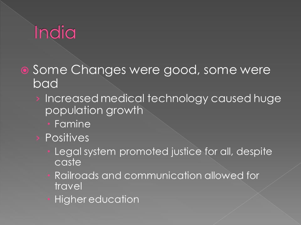 India Some Changes were good, some were bad