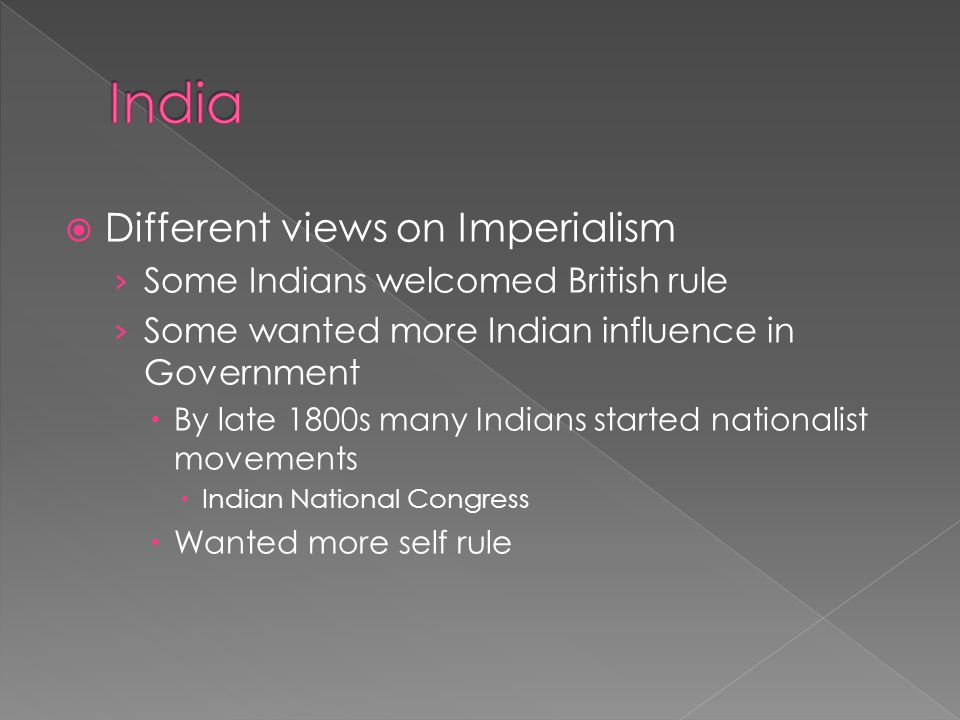 India Different views on Imperialism