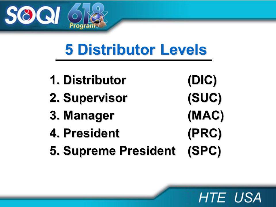 5 Distributor Levels 1. Distributor (DIC) 2. Supervisor (SUC)