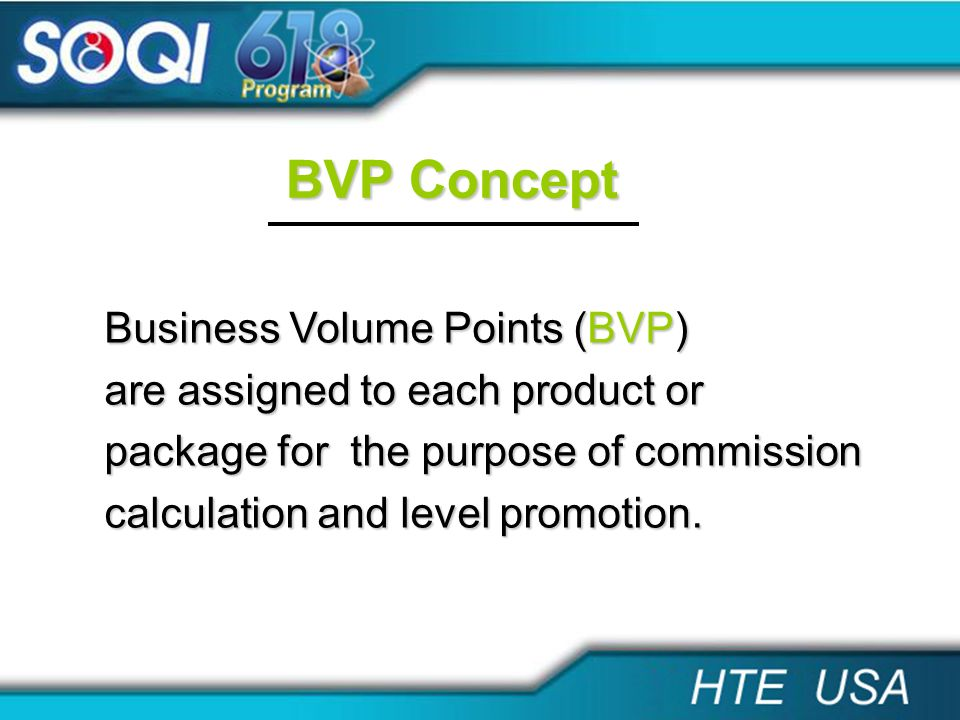 BVP Concept Business Volume Points (BVP)