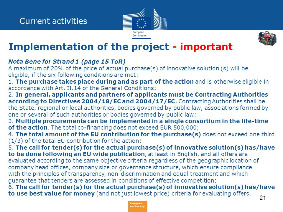 Implementation of the project - important