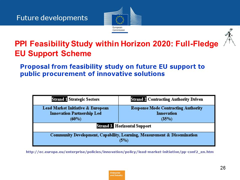 Future developments PPI Feasibility Study within Horizon 2020: Full-Fledge EU Support Scheme.