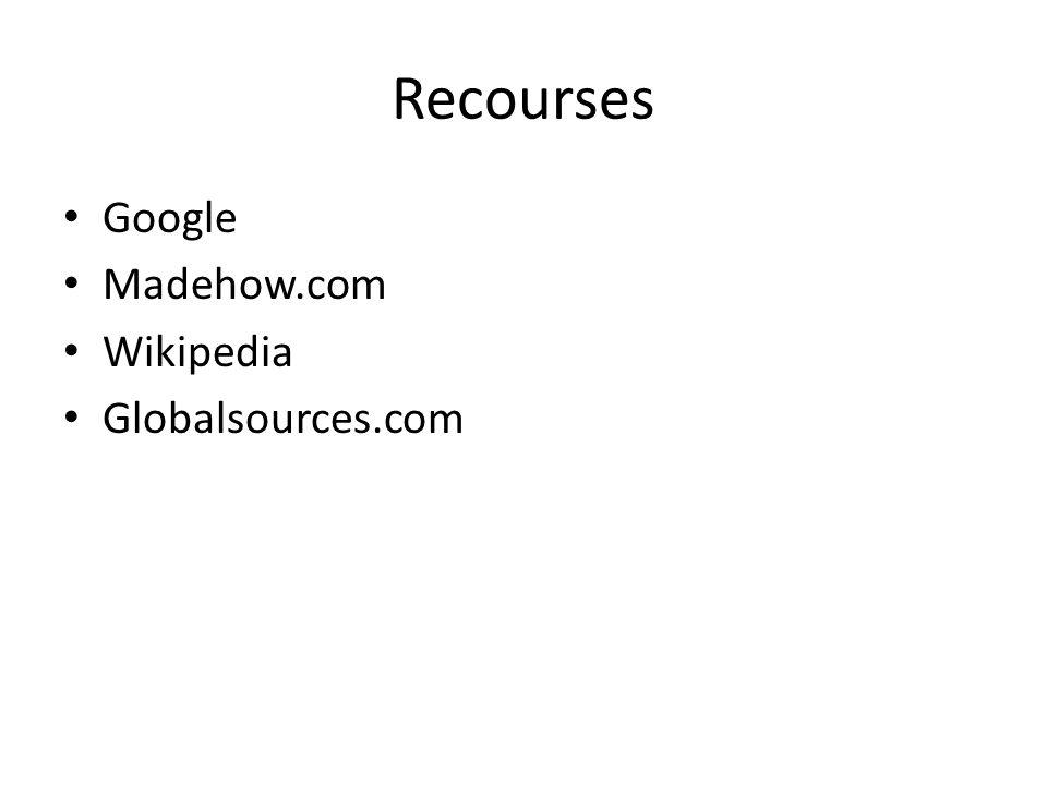 Recourses Google Madehow.com Wikipedia Globalsources.com