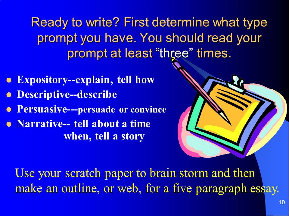 Ready to write. First determine what type prompt you have