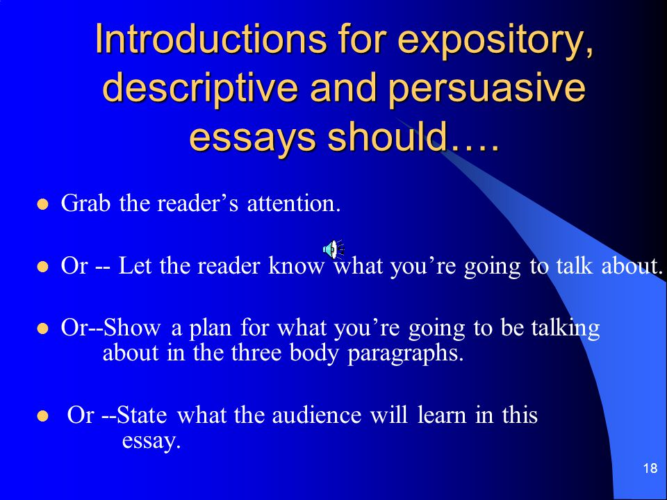 Introductions for expository, descriptive and persuasive essays should….