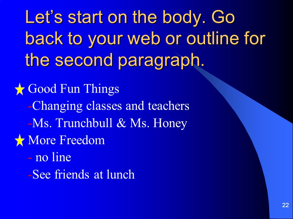 Let's start on the body. Go back to your web or outline for the second paragraph.