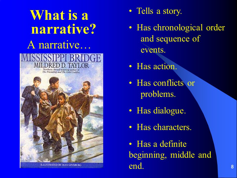 What is a narrative A narrative… Tells a story.