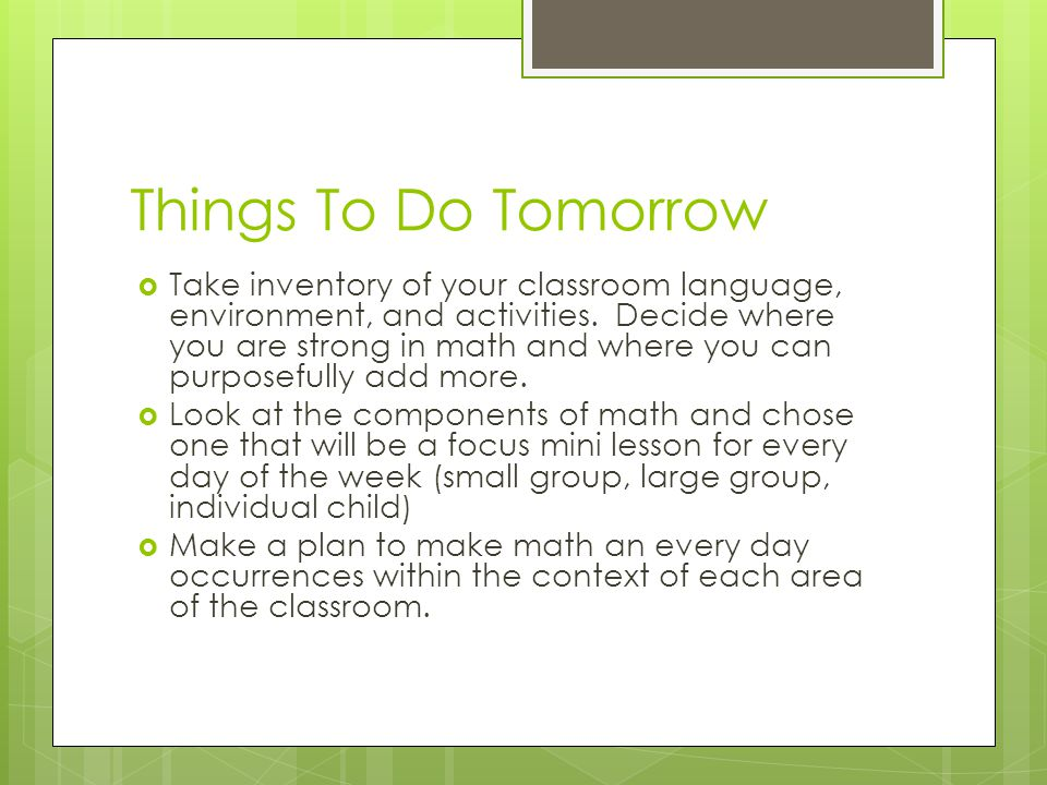 Things To Do Tomorrow
