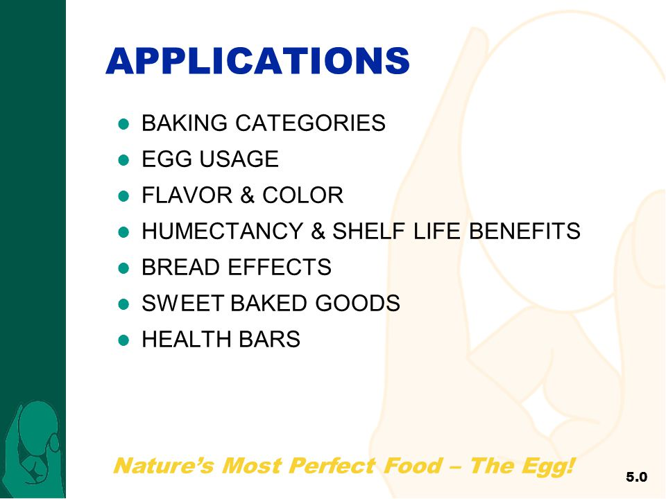APPLICATIONS BAKING CATEGORIES EGG USAGE FLAVOR & COLOR