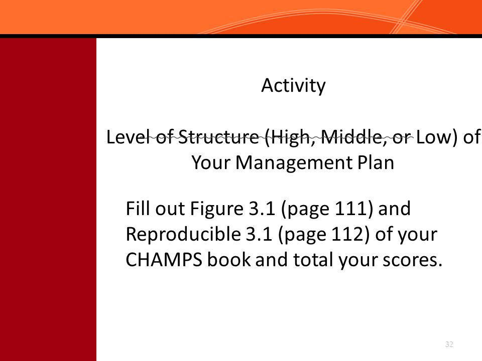 Activity Level of Structure (High, Middle, or Low) of Your Management Plan