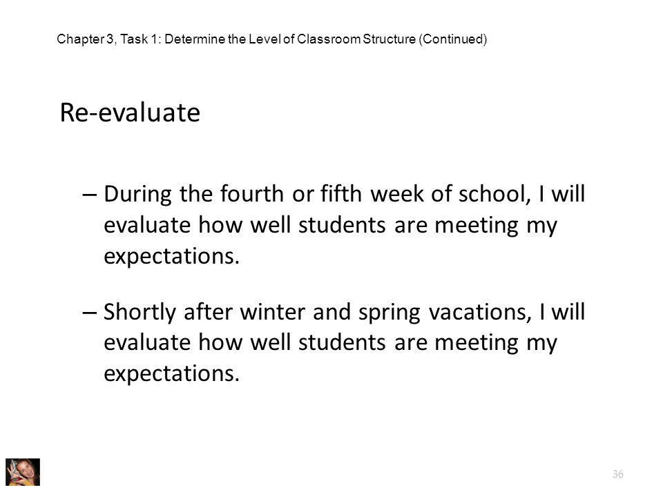 Chapter 3, Task 1: Determine the Level of Classroom Structure (Continued)