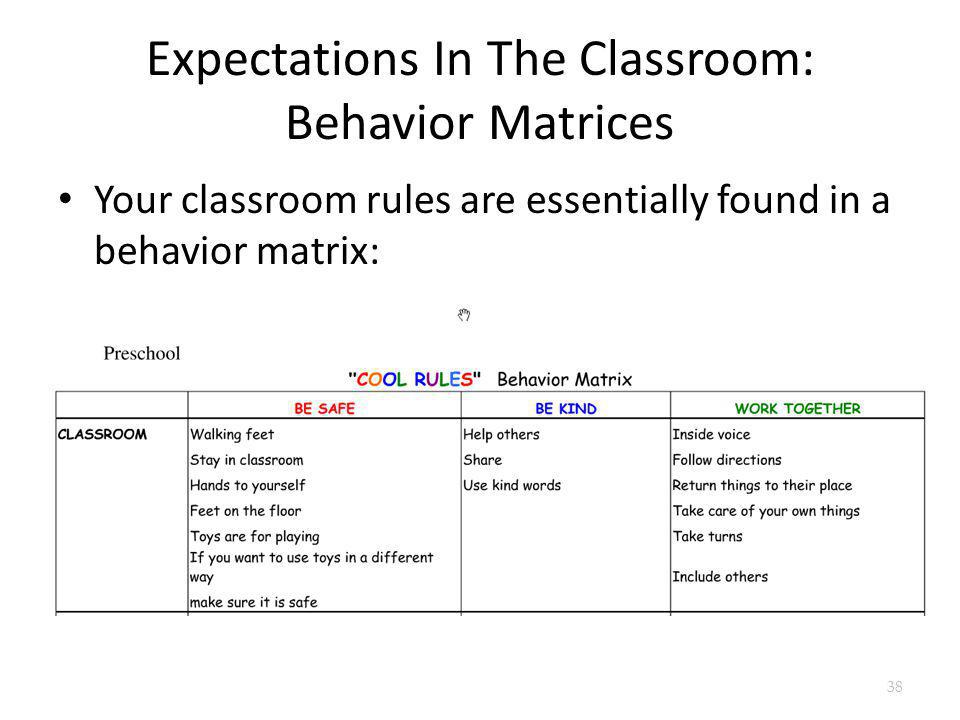 Expectations In The Classroom: Behavior Matrices