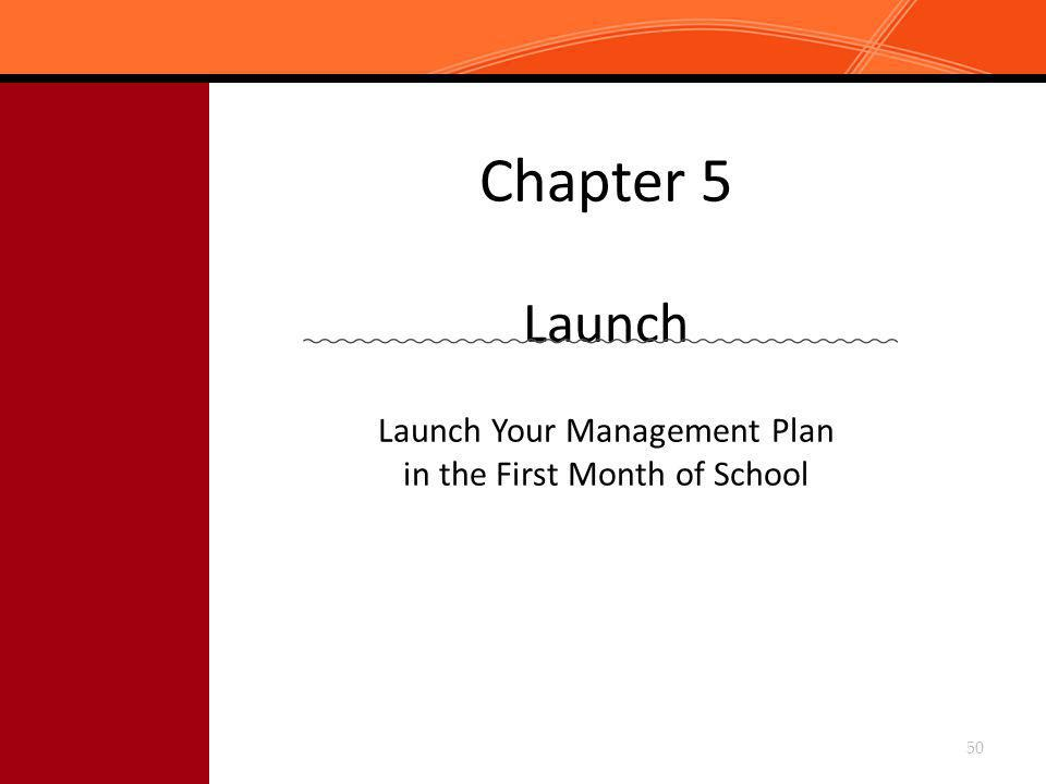 Chapter 5 Launch Launch Your Management Plan in the First Month of School