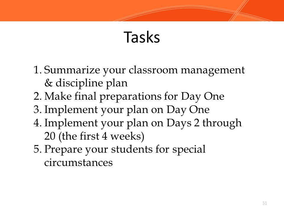 Tasks Summarize your classroom management & discipline plan