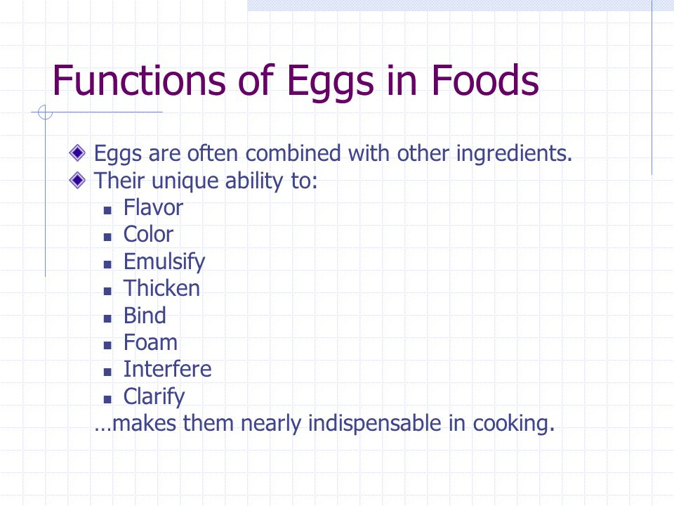 Functions of Eggs in Foods