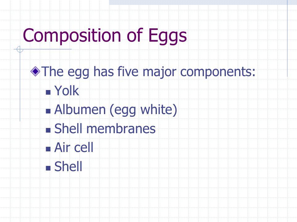 Composition of Eggs The egg has five major components: Yolk