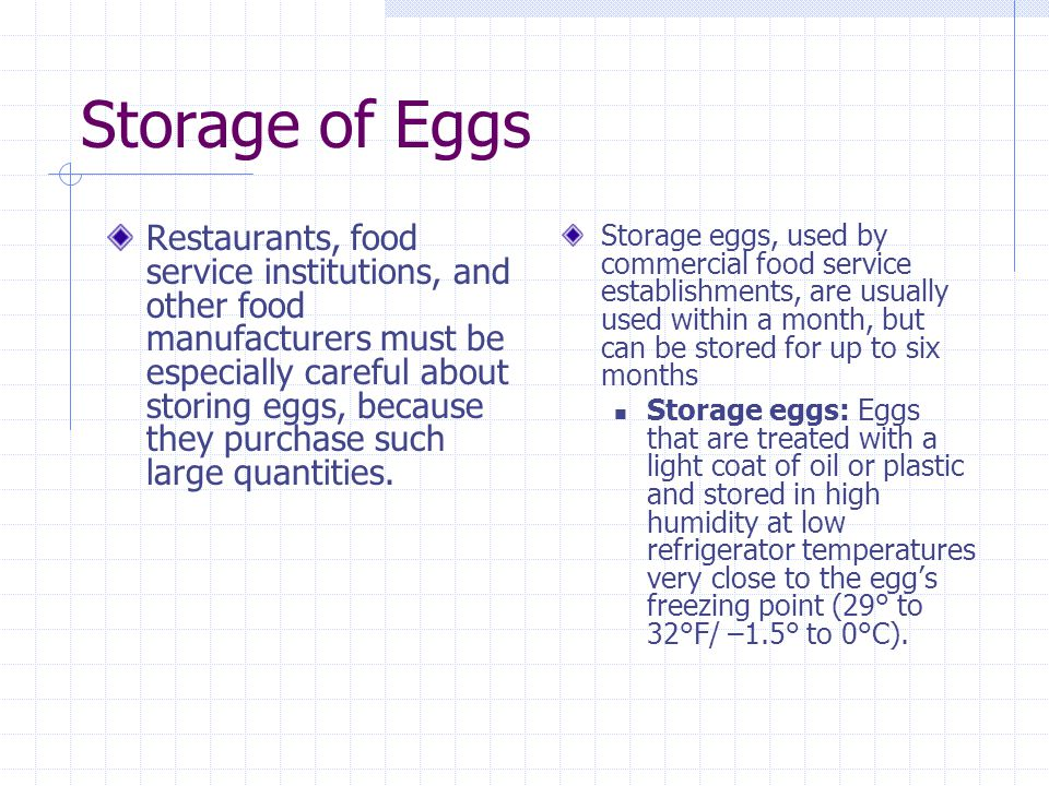 Storage of Eggs