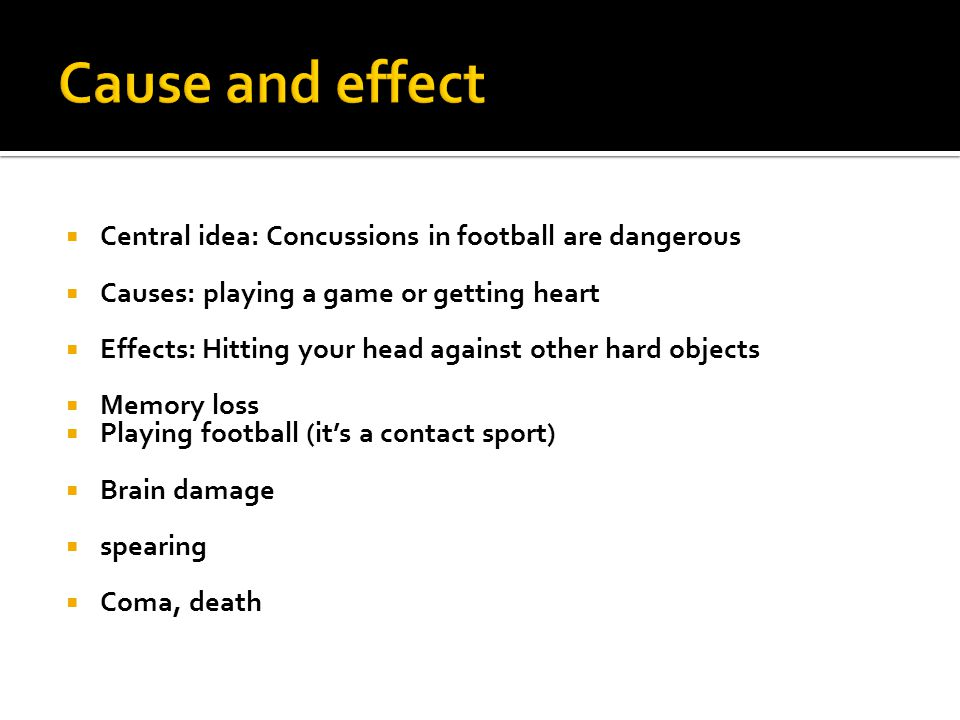 Cause and effect Central idea: Concussions in football are dangerous