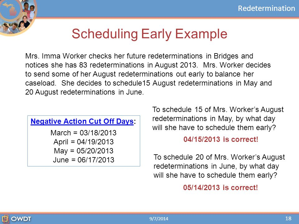 Scheduling Early Example