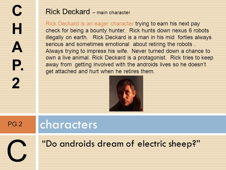 C C H A P. 2 characters Do androids dream of electric sheep