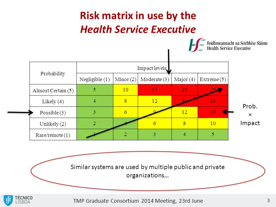 Risk matrix in use by the Health Service Executive