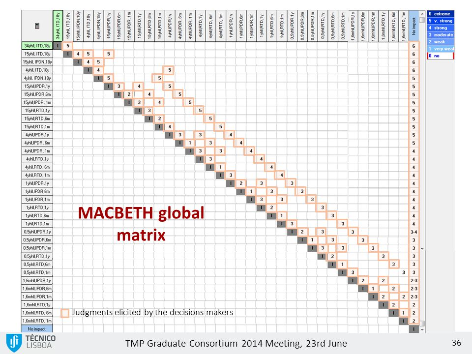 MACBETH global matrix Judgments elicited by the decisions makers