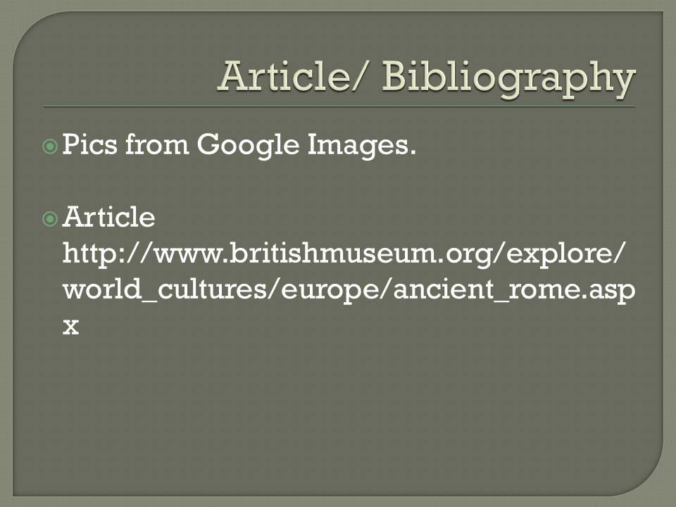 Article/ Bibliography