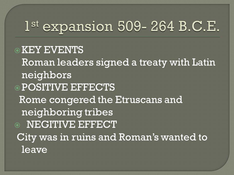1st expansion 509- 264 B.C.E. KEY EVENTS
