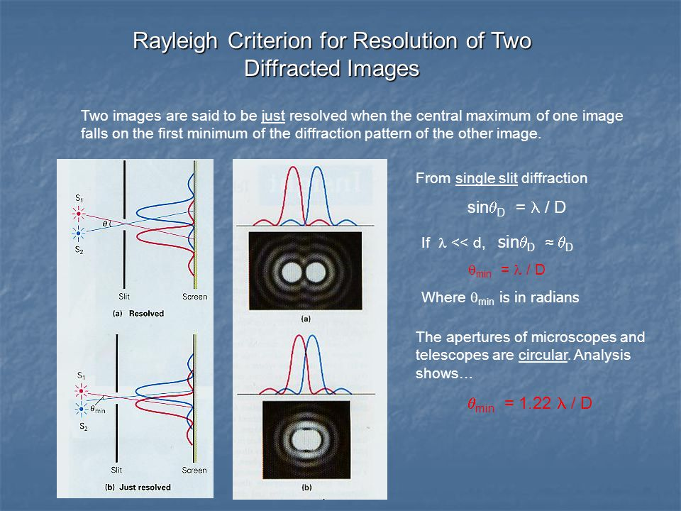 Rayleigh Criterion for Resolution of Two Diffracted Images