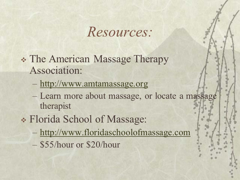Resources: The American Massage Therapy Association: