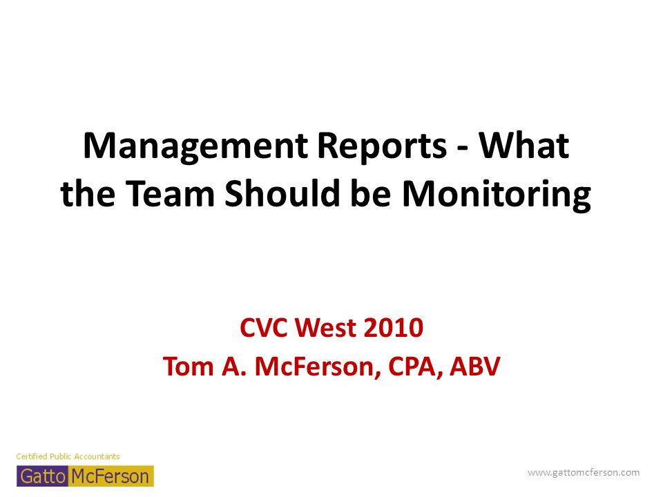 Management Reports - What the Team Should be Monitoring