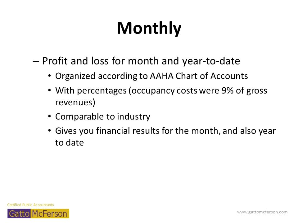Monthly Profit and loss for month and year-to-date