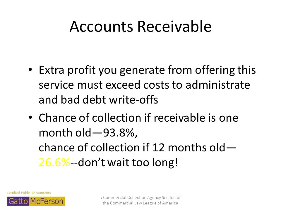 Accounts Receivable Extra profit you generate from offering this service must exceed costs to administrate and bad debt write-offs.