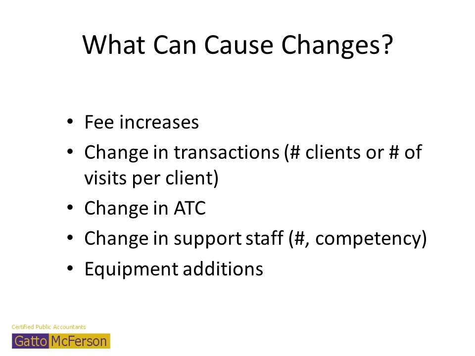 What Can Cause Changes Fee increases