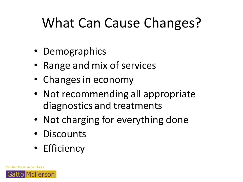What Can Cause Changes Demographics Range and mix of services