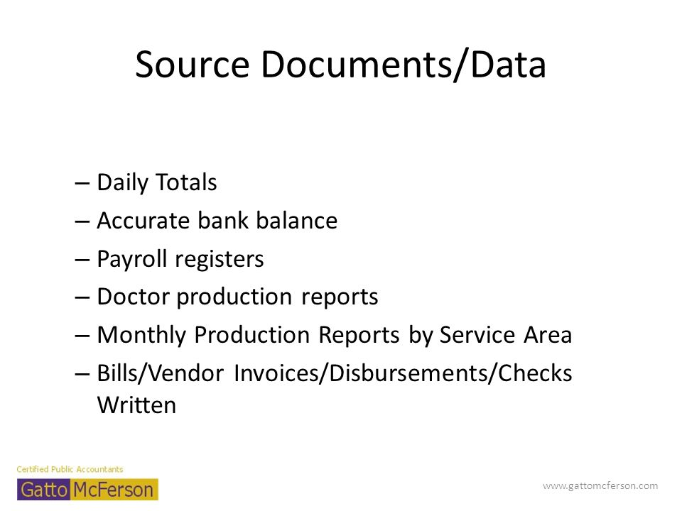Source Documents/Data