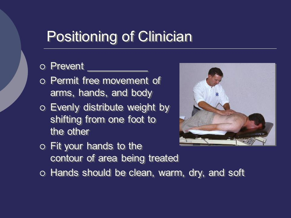 Positioning of Clinician