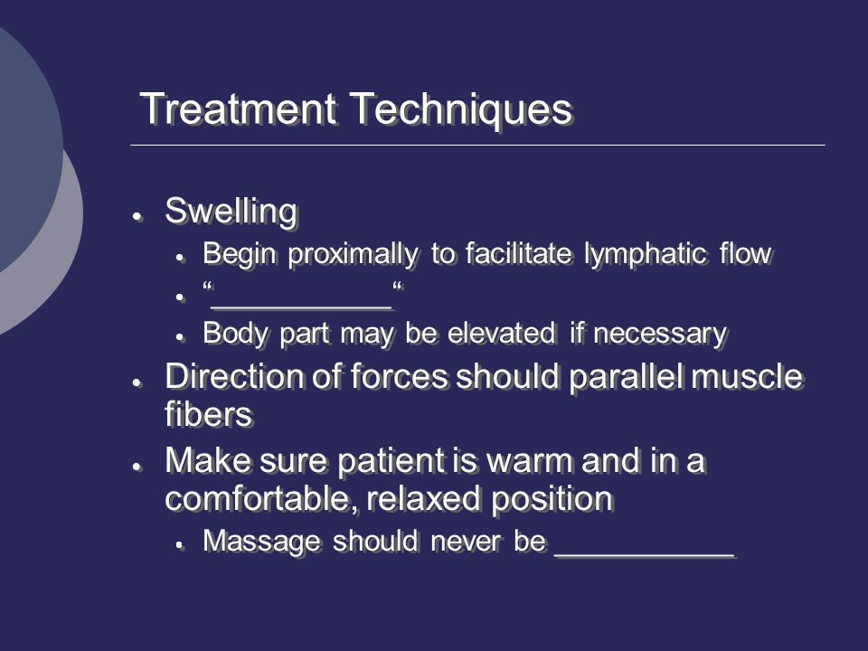 Treatment Techniques Swelling