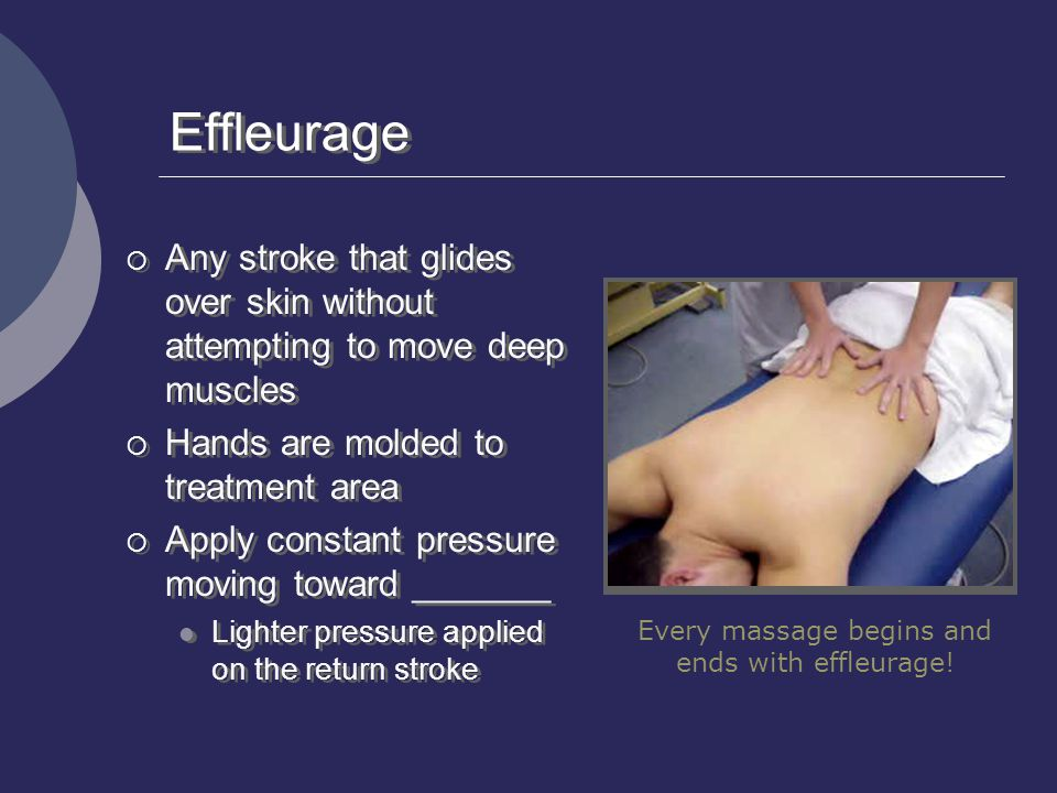 Every massage begins and ends with effleurage!