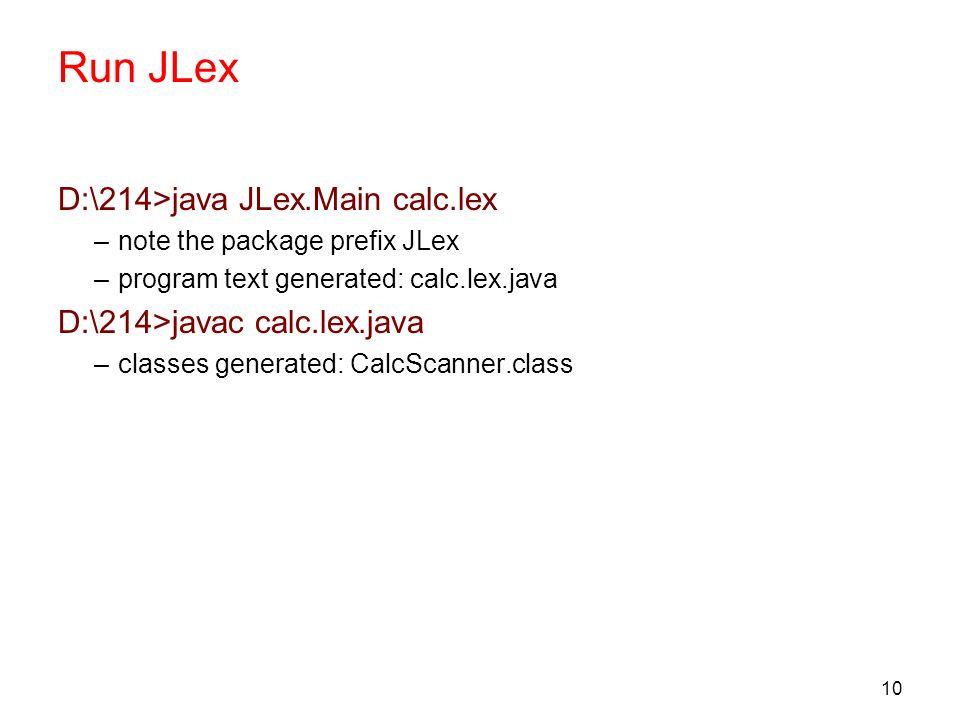 Run JLex D:\214>java JLex.Main calc.lex