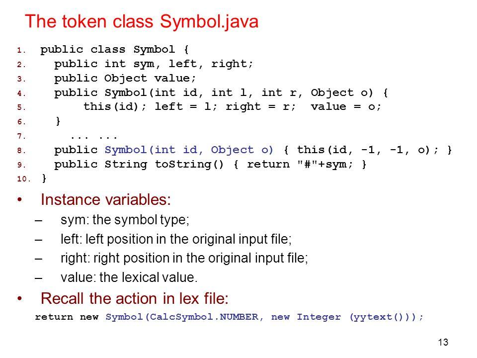 The token class Symbol.java