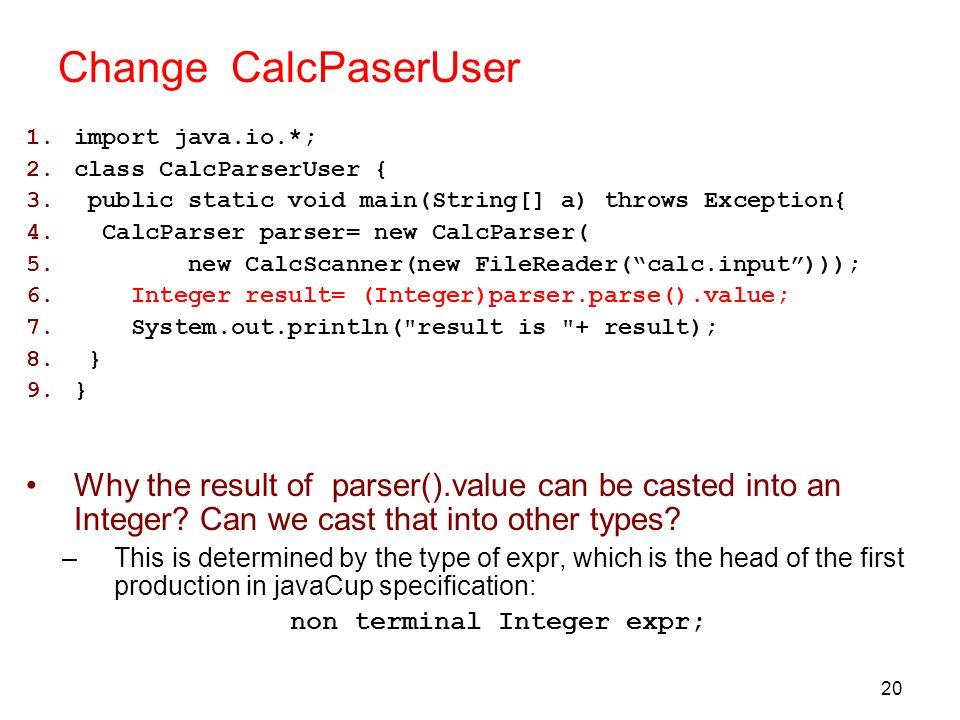 non terminal Integer expr;