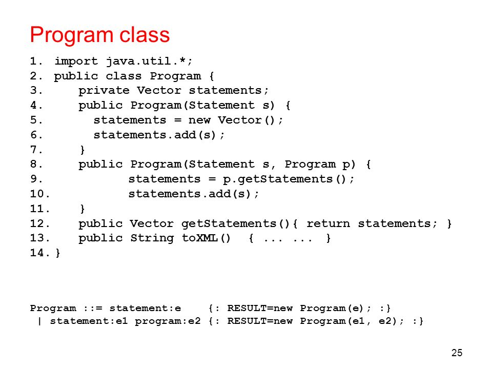 Program class import java.util.*; public class Program {