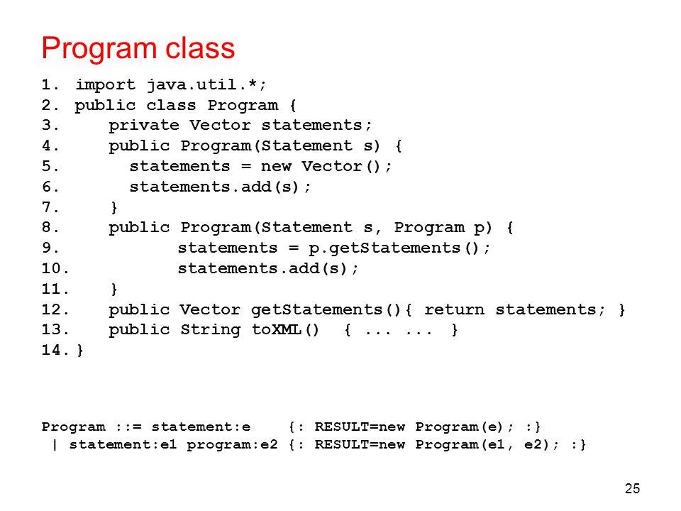 Program class import java.util.*; public class Program {
