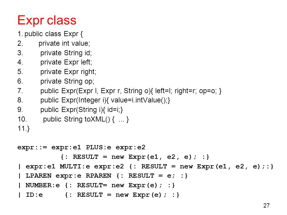 Expr class public class Expr { private int value; private String id;