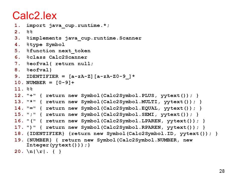 Calc2.lex import java_cup.runtime.*; %%